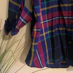 Plaid Knit Button Down Shirt NWOT